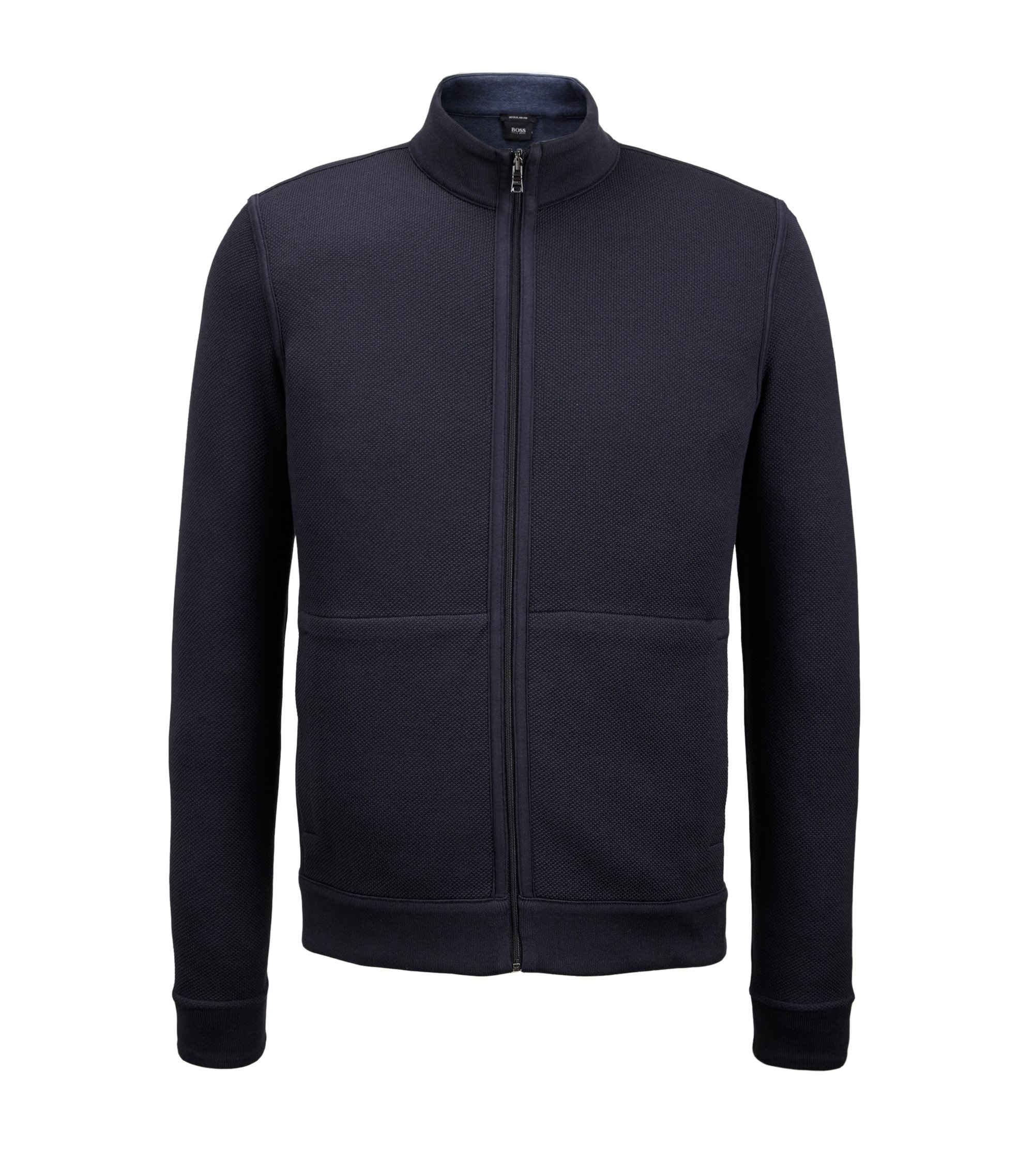 Reversible Cotton Full-Zip Sweater | Scavo, Dark Blue