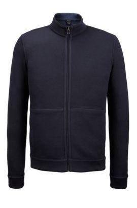 Reversible Cotton Full-Zip Sweater | Scavo, Dark Blue