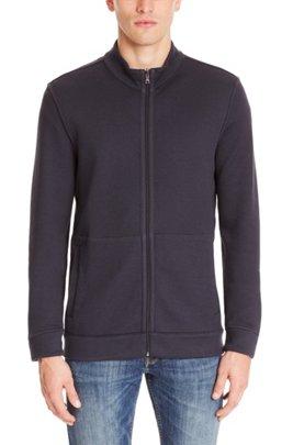 Zip-through sweatshirt in double-faced melange cotton, Dark Blue