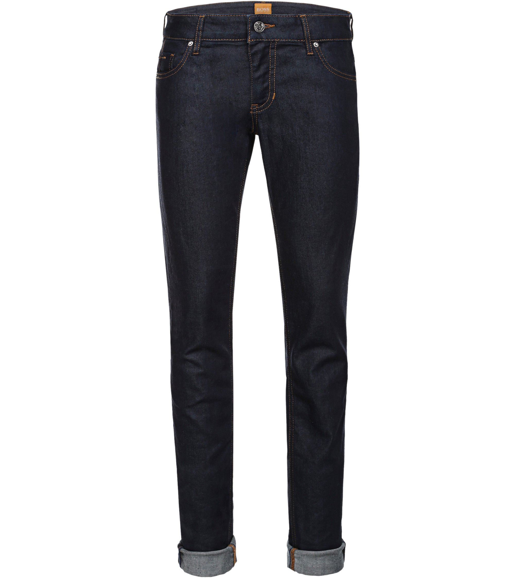 'Orange J' | Stretch Cotton Slim Jeans, Dark Blue
