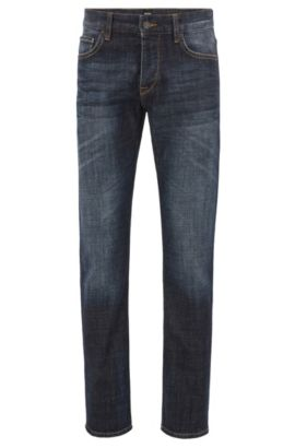 10.75 oz Stretch Cotton Jeans, Regular Fit | Orange, Dark Blue