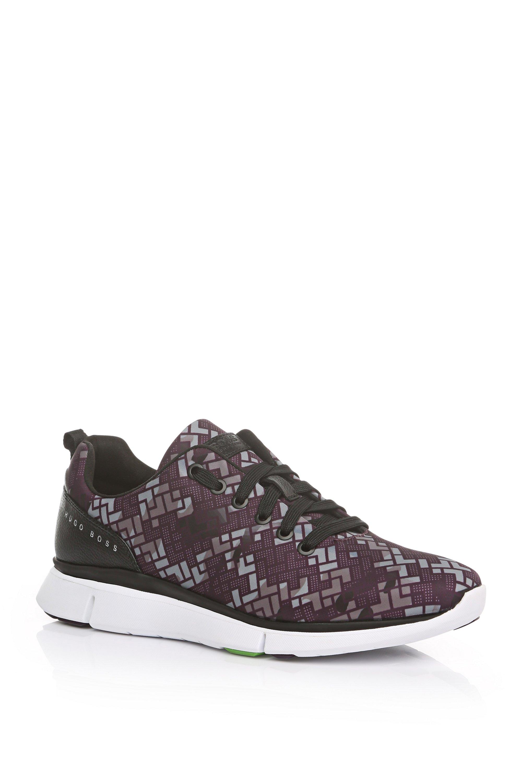Printed Nylon Sneaker | Gym Print, Dark Purple