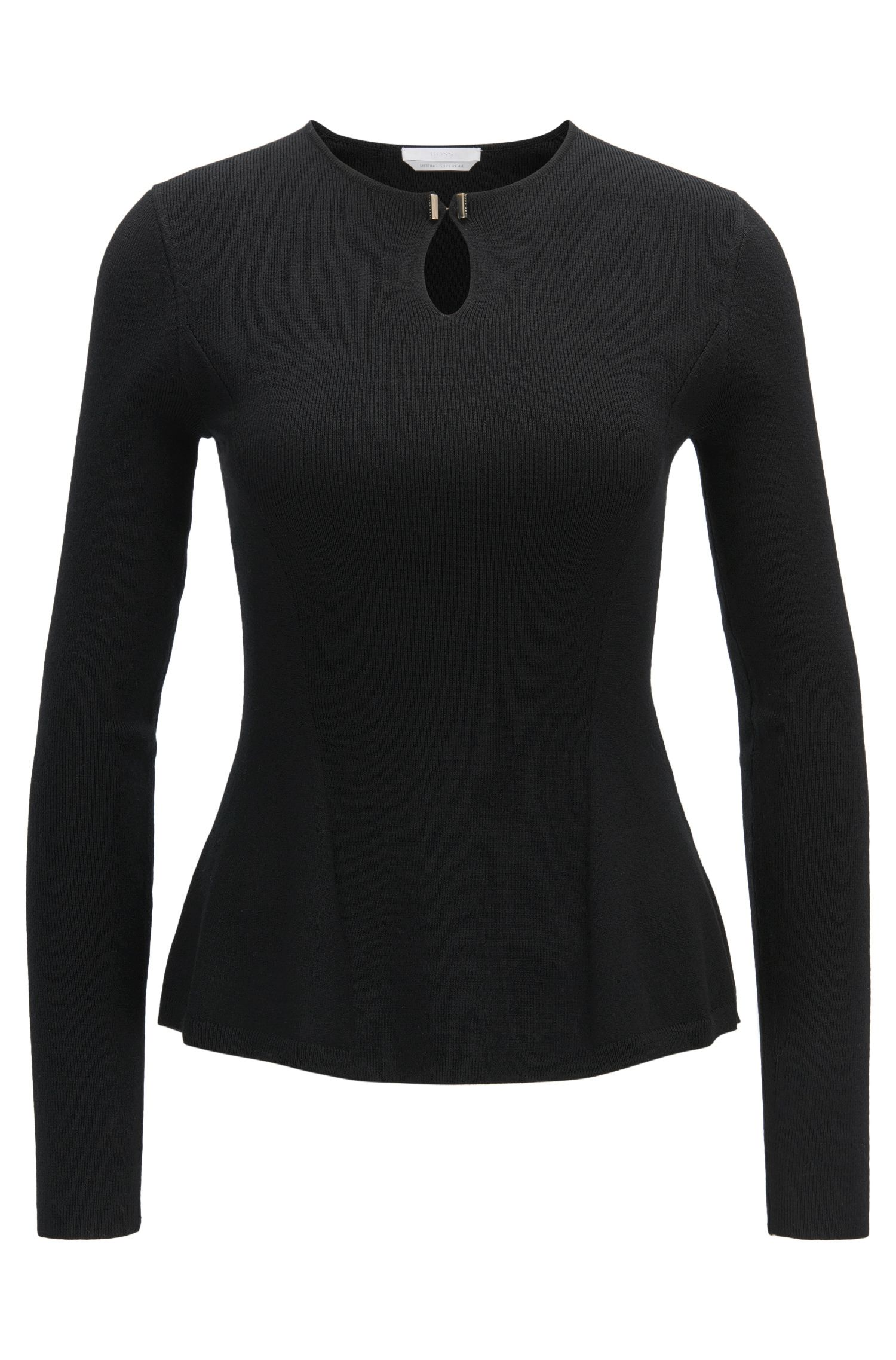 Mercerized Virgin Wool Peplum Sweater | Filga, Black
