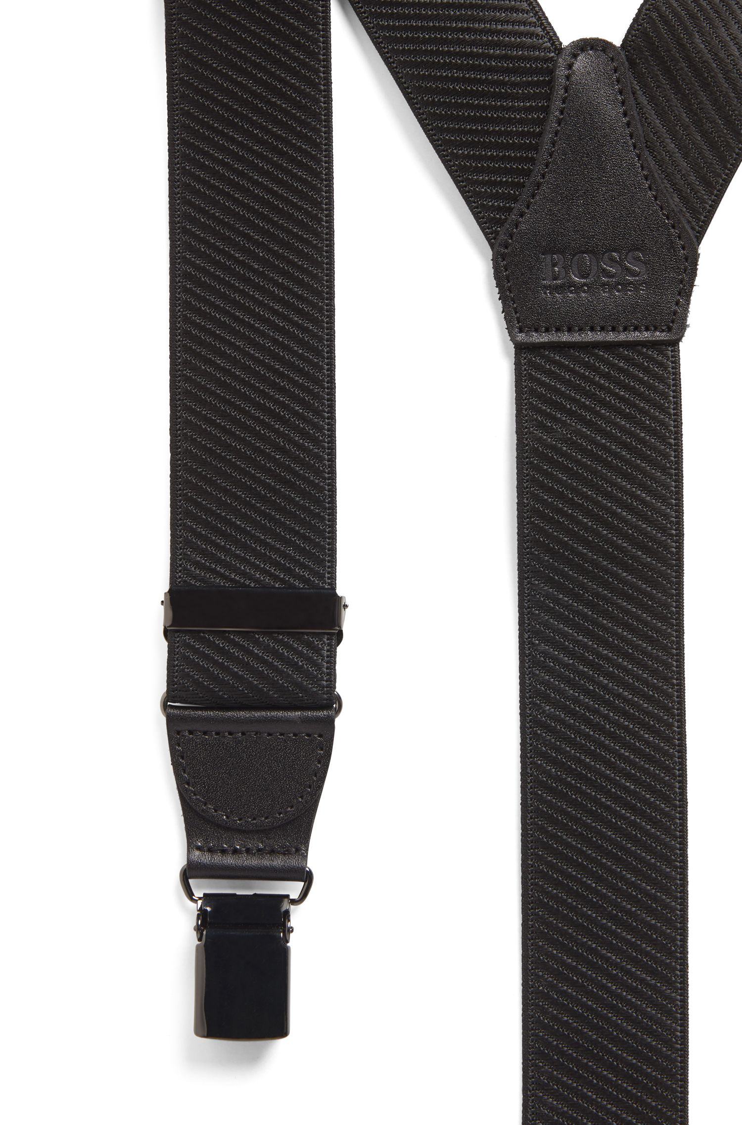 Gift-boxed suspenders with leather trim and gunmetal hardware, Black