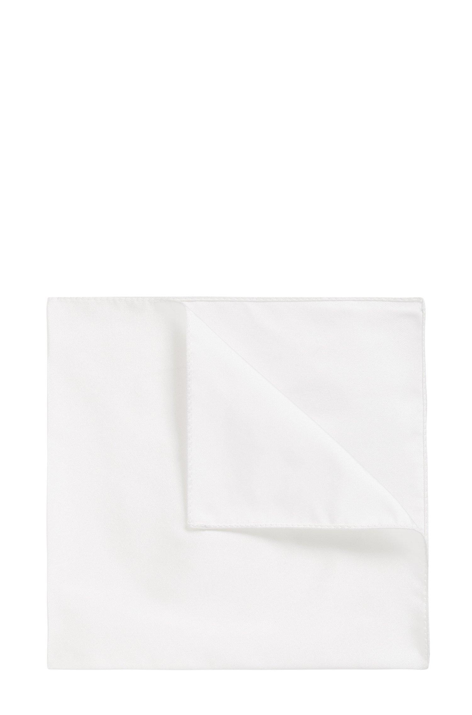 Jacquard pocket square in pure silk, White