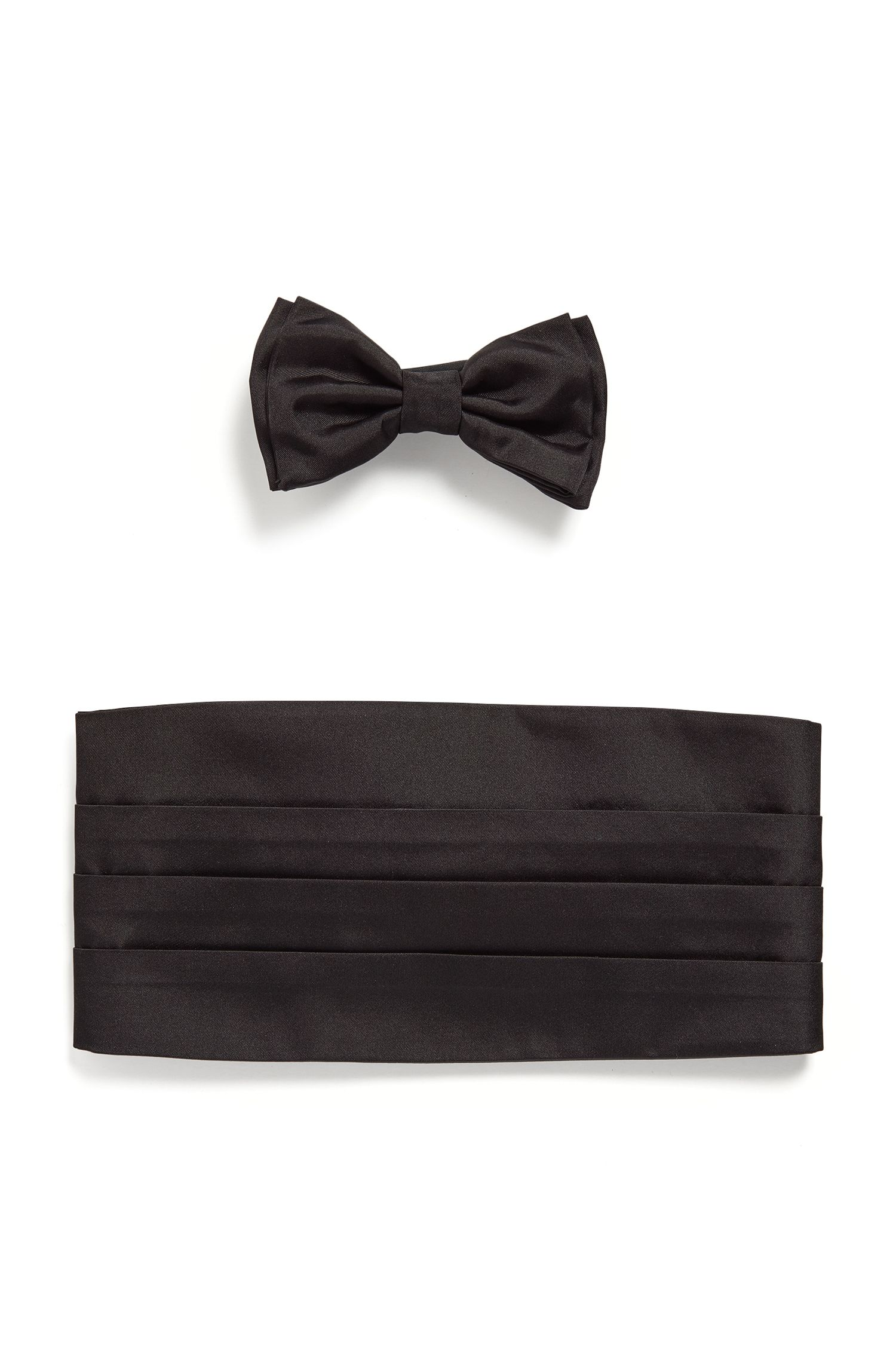 Silk Cummerbund & Bow Tie Set, Black