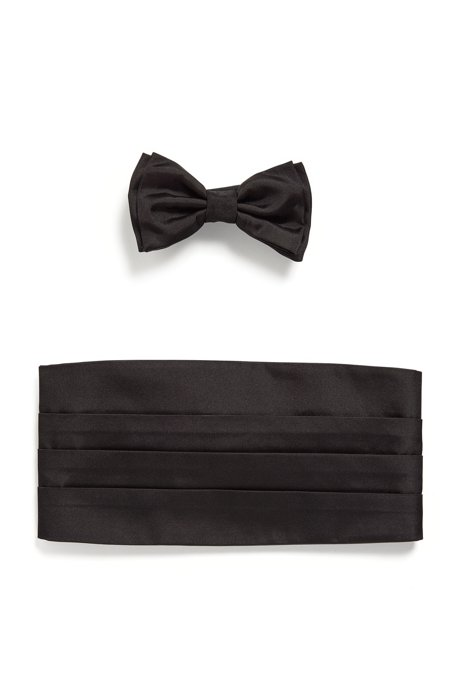 Silk bow tie and cummerbund set, Black