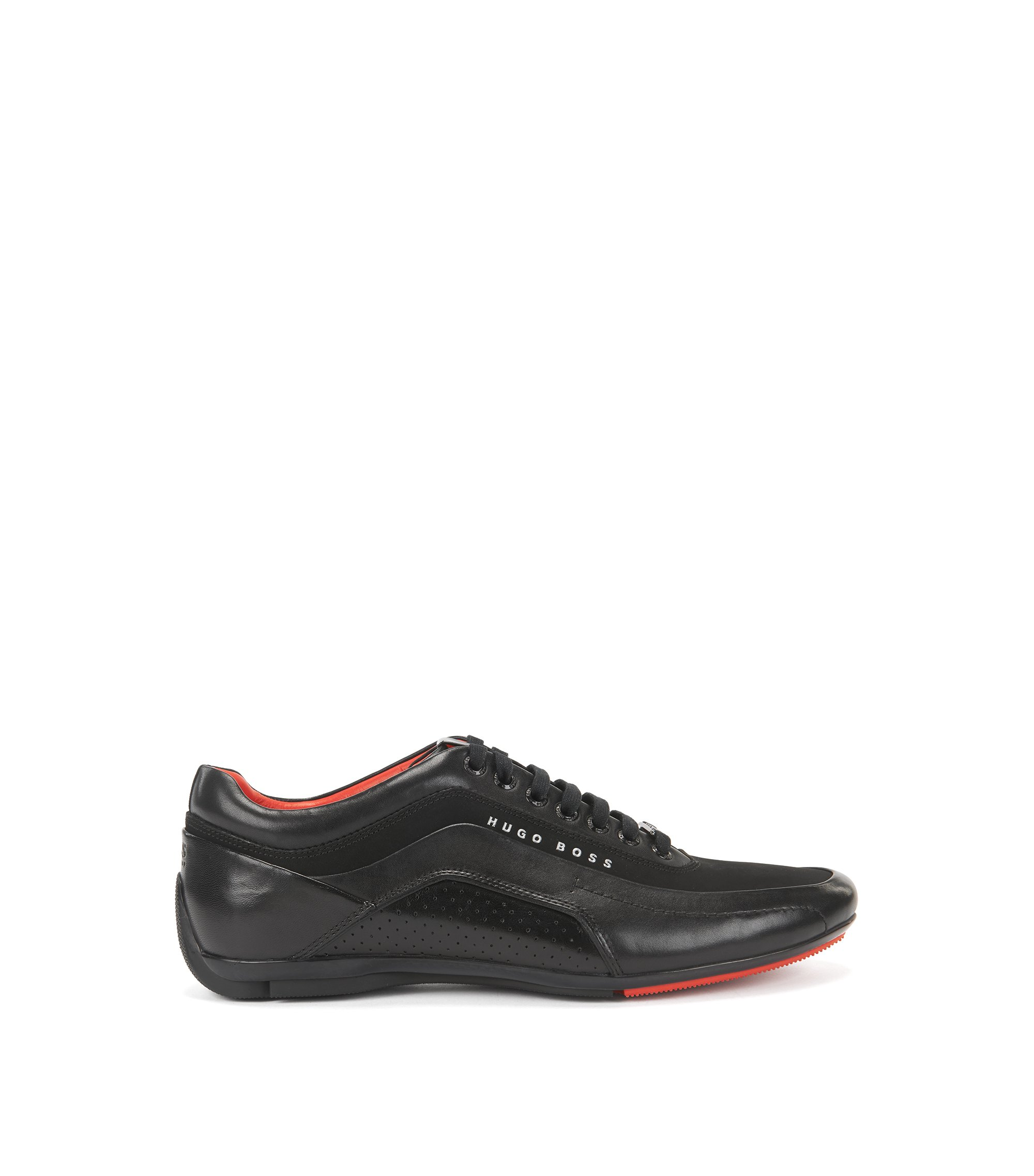Textured Leather Sneaker | HB Racing, Black