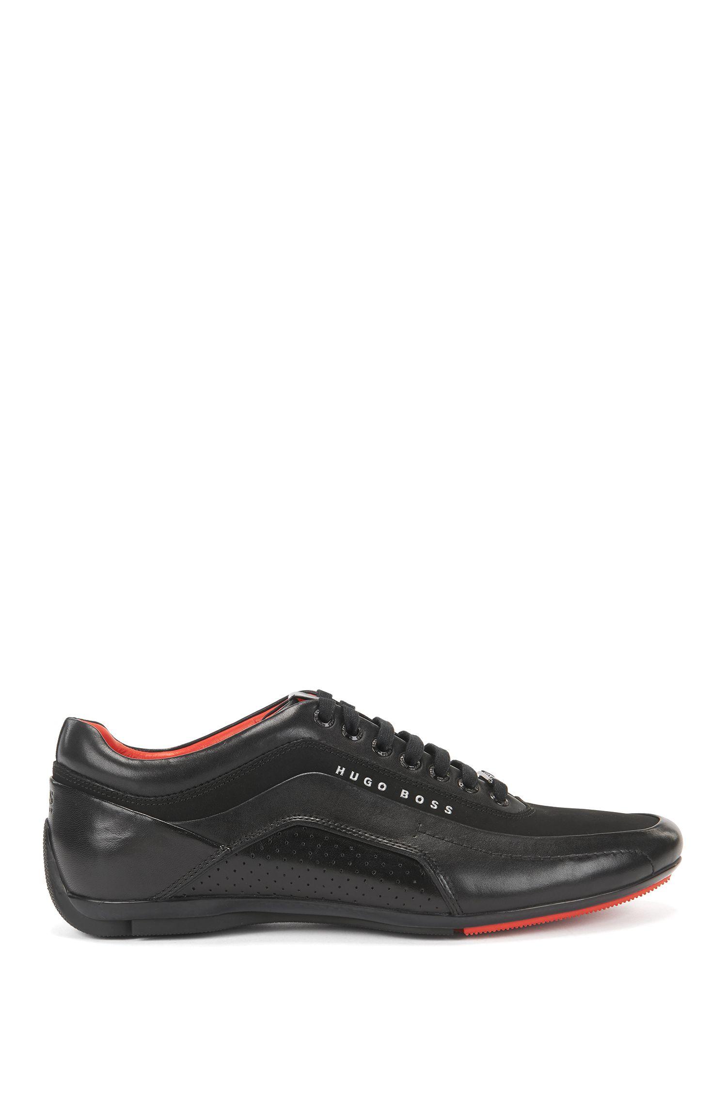 'HB Racing' | Calfskin Mixed Texture Sneakers