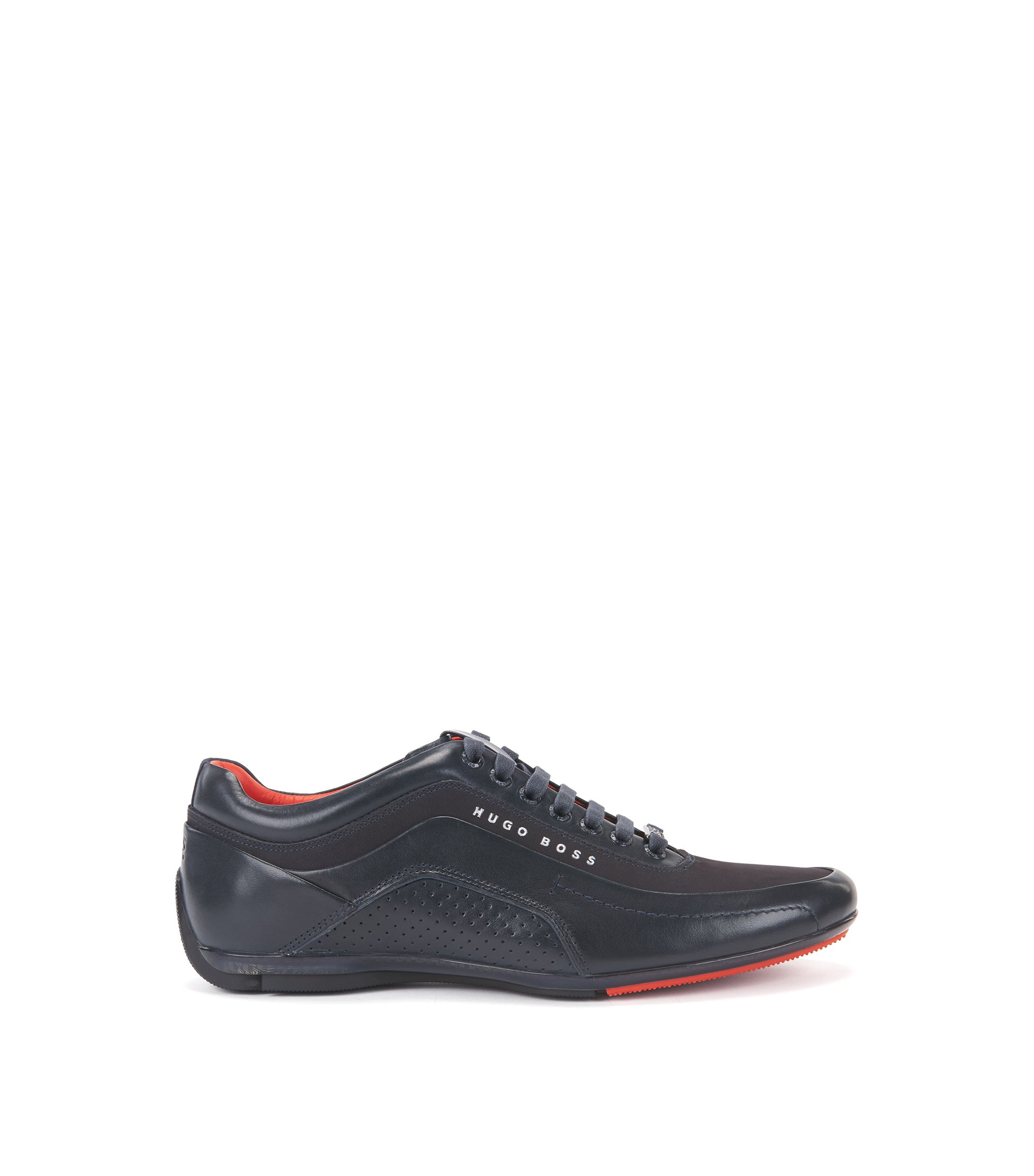 Textured Leather Sneaker | HB Racing, Dark Blue