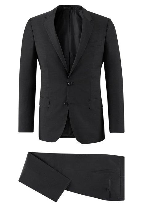 Virgin Wool Suit, Slim Fit   Huge/Genius, Black