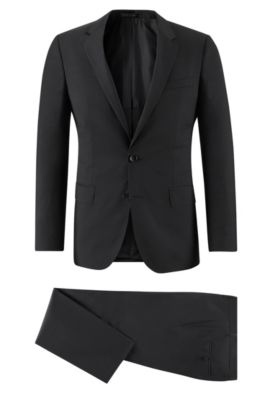 Virgin Wool Suit, Slim Fit | Huge/Genius, Black