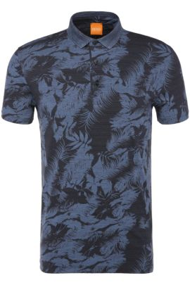 Tropical-Print Cotton Jersey Polo Shirt | Picou, Light Blue