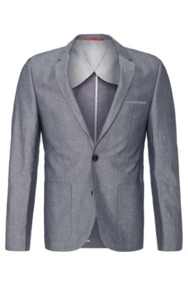 'Alesono' | Slim Fit, Linen Cotton Sport Coat, Blue