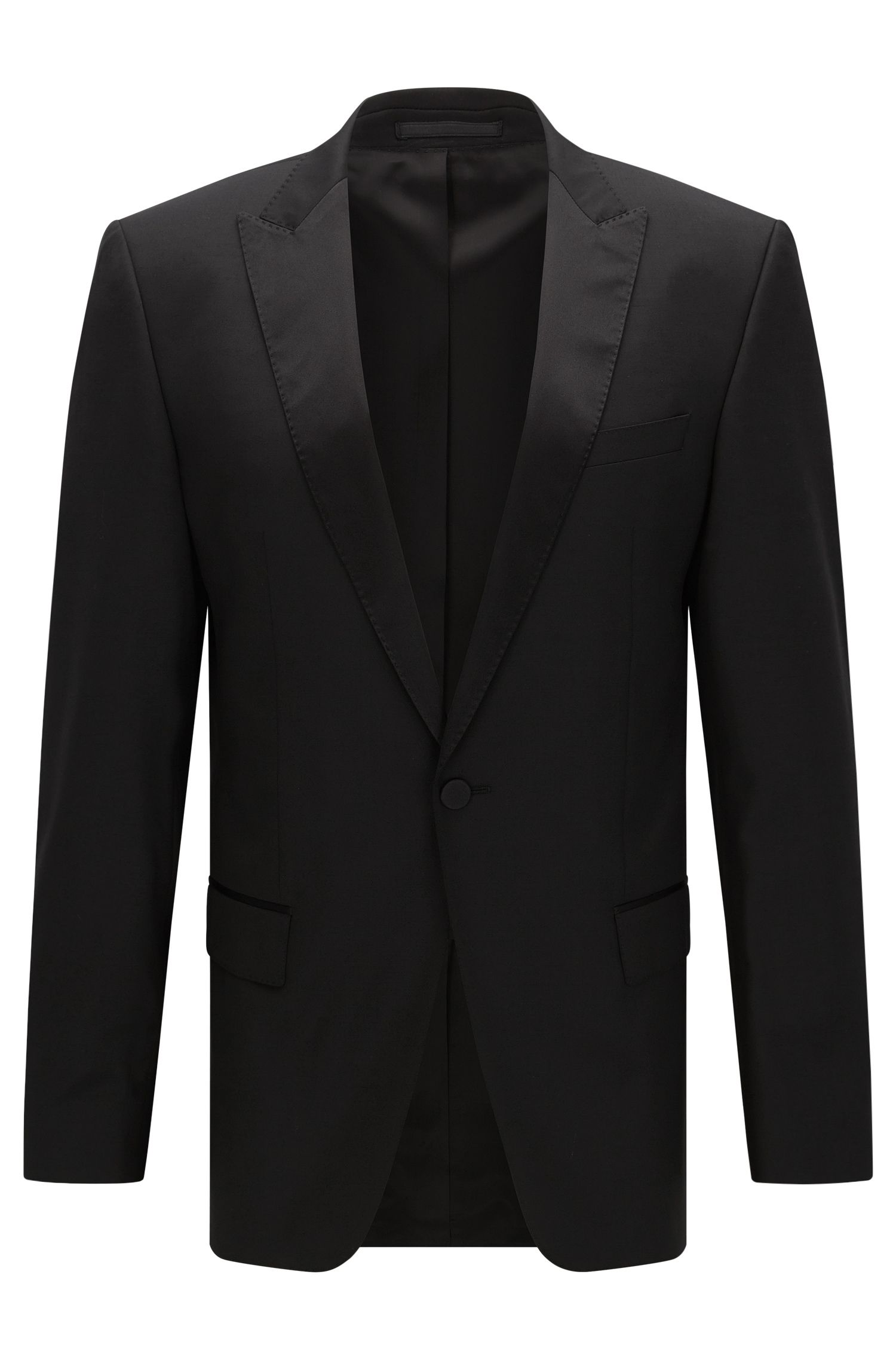 Virgin Wool Tuxedo, Slim Fit | Housten/Glorious, Black