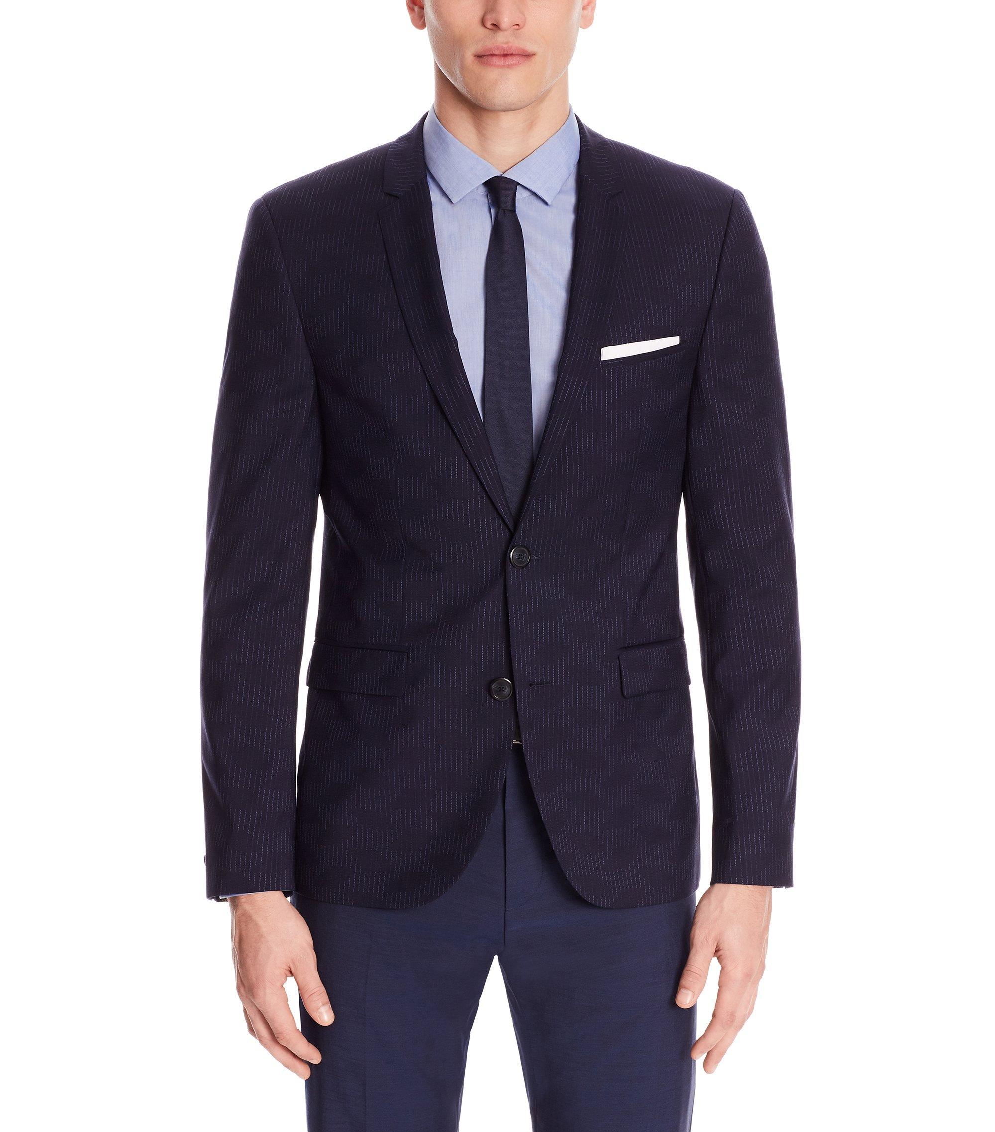 Virgin Wool Sport Coat, Extra Slim Fit   Adris, Dark Blue