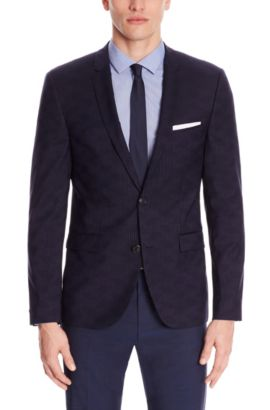 'Adris' | Extra Slim Fit, Virgin Wool Sport Coat, Dark Blue