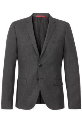 Virgin Wool Cotton Nailhead Sport Coat, Slim Fit | Arti, Charcoal