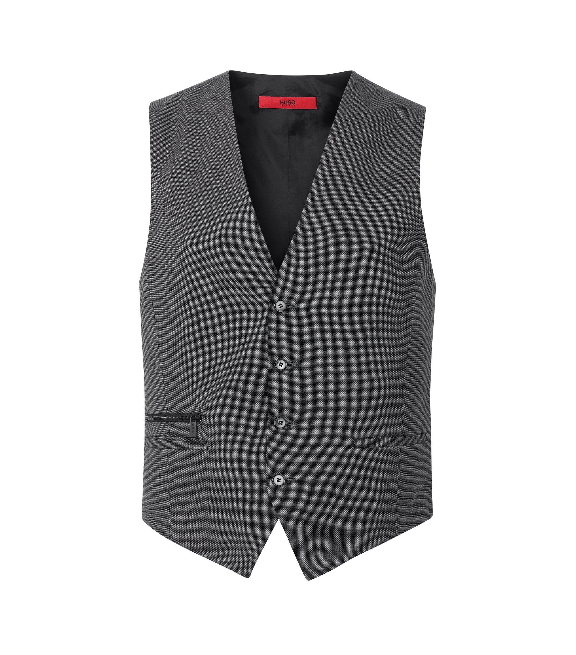 Virgin Wool Cotton Waistcoat, Slim Fit   Wadley, Charcoal