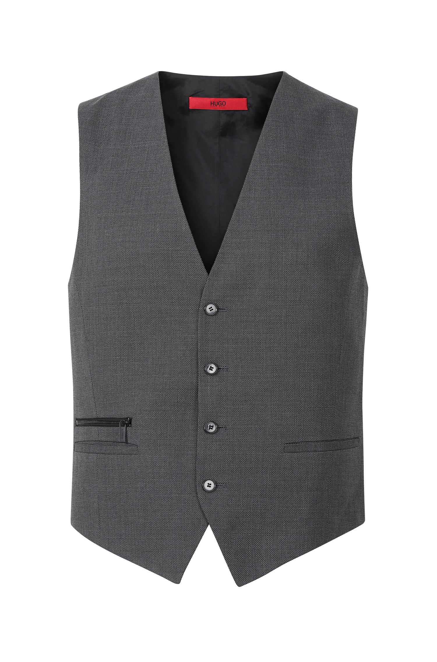 Virgin Wool Cotton Waistcoat, Slim Fit | Wadley, Charcoal