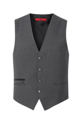 Virgin Wool Cotton Waistcoat, Slim Fit | Wadley, Charcoal