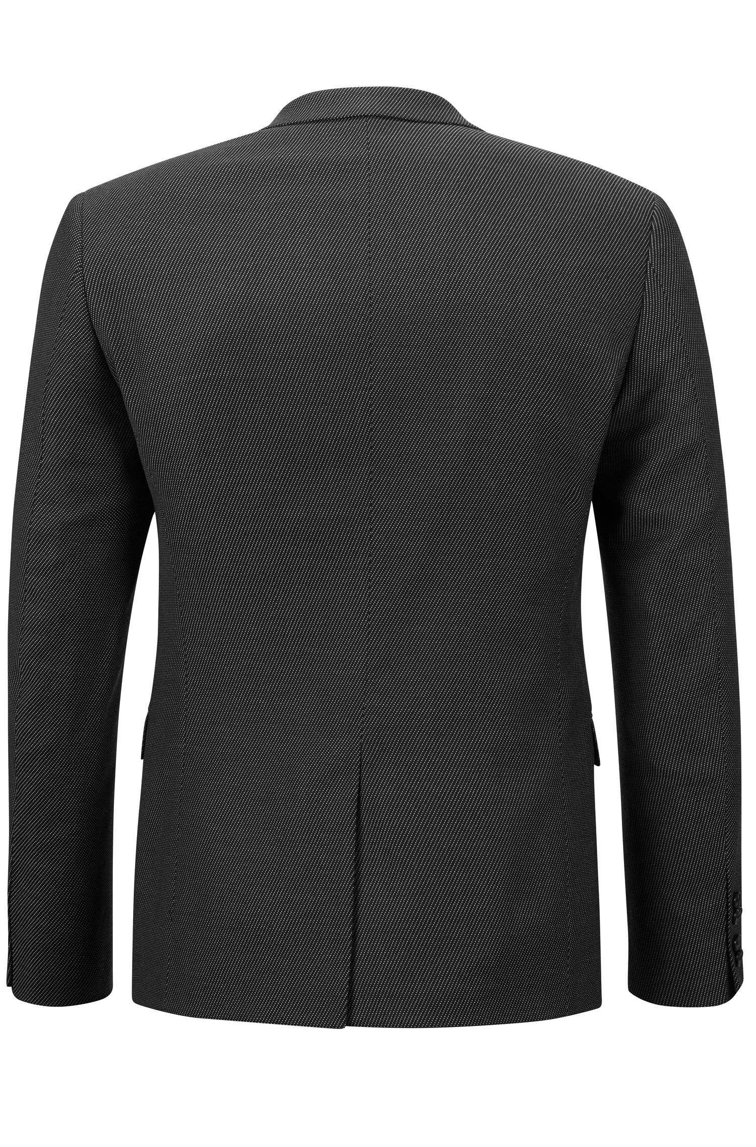 Virgin Wool Blend Sport Coat, Extra Slim Fit | Adris, Black