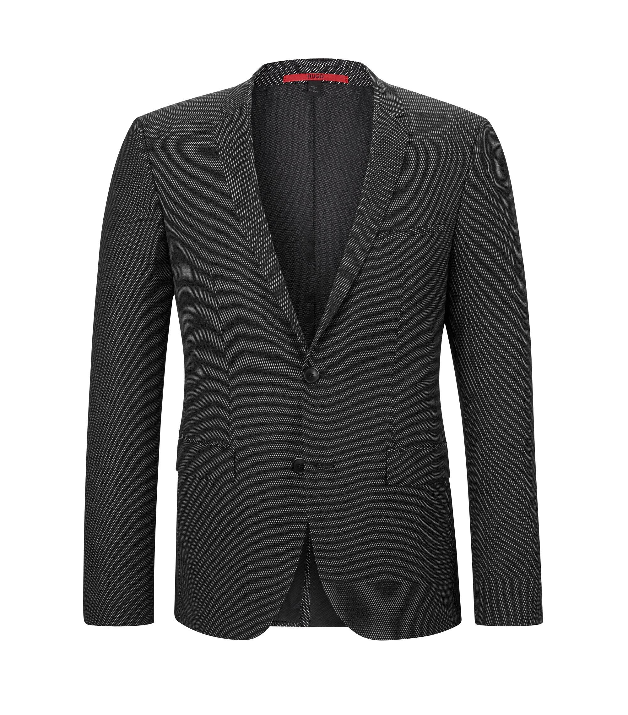 Virgin Wool Blend Sport Coat, Extra Slim Fit | Adris, Black