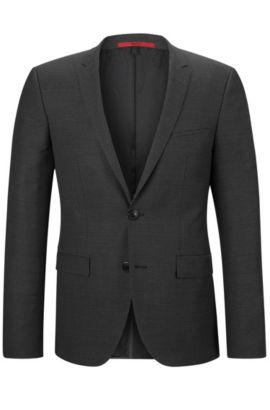 'Adris3' | Extra-Slim Fit, Virgin Wool Blend Sport Coat, Black