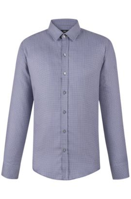 'Robbie'   Slim Fit, Cotton Button Down Shirt, Open Grey