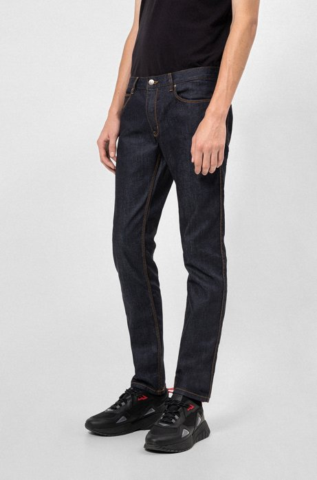 Slim-fit jeans in stay-blue stretch denim , Dark Blue