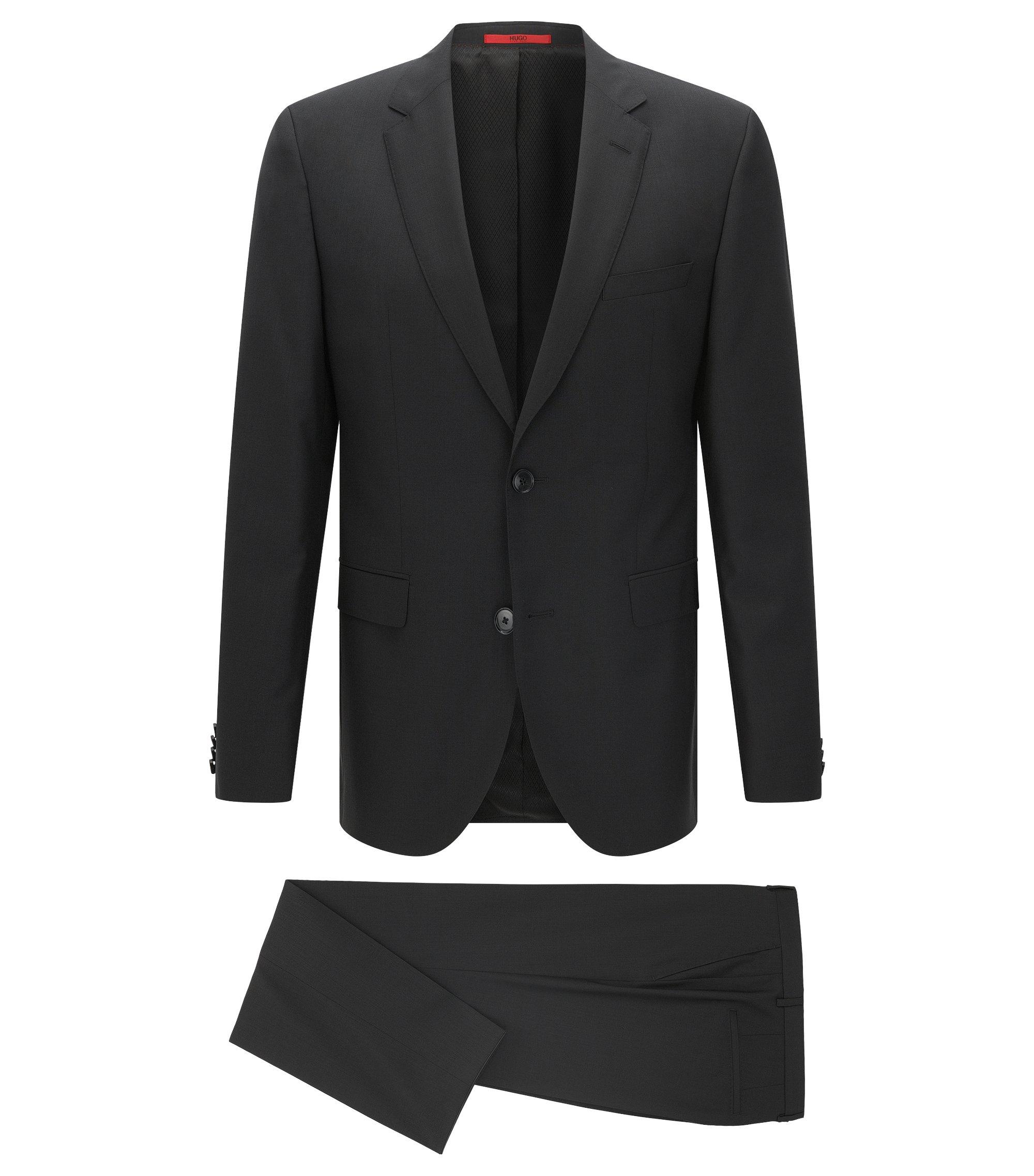 Virgin Wool Suit, Slim Fit | C-Jeffrey/C-Simmons, Black