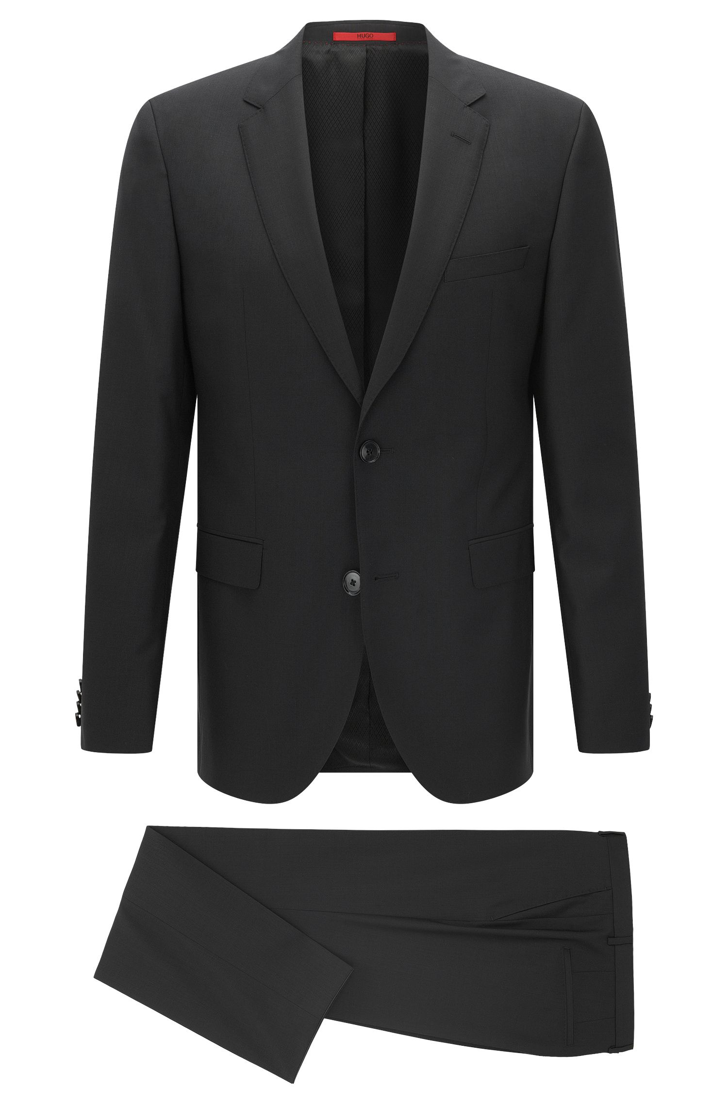 Virgin Wool Suit, Slim Fit | C-Jeffrey/C-Simmons, Black