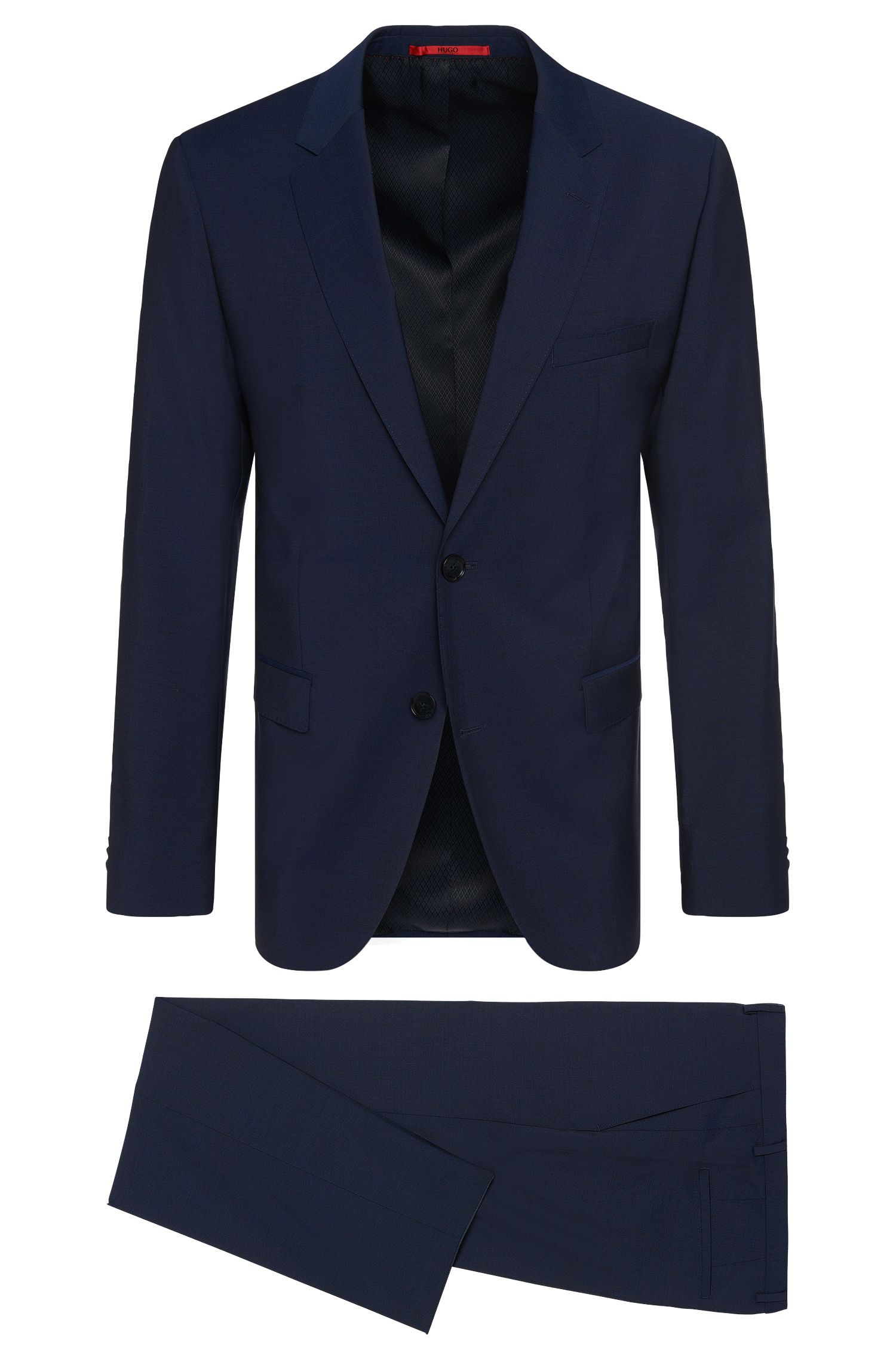 Virgin Wool Suit, Slim Fit | C-Jeffrey/C-Simmons, Blue