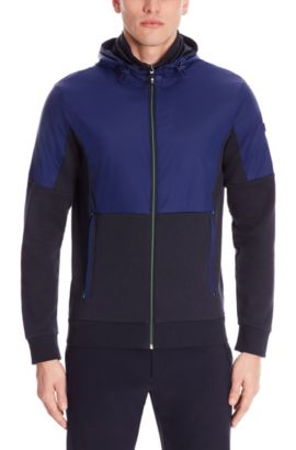 'Skibo' | Cotton Nylon Hooded Zip Jacket, Dark Blue