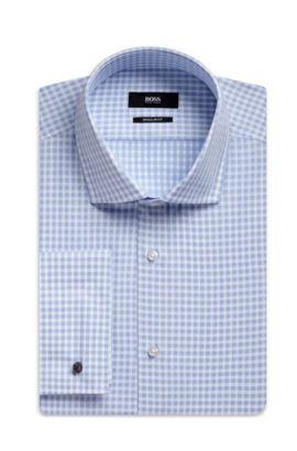 Gingham Italian Cotton Dress Shirt, Regular Fit  Gardner, Light Blue