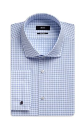 Gingham Italian Cotton Dress Shirt, Regular Fit | Gardner, Light Blue