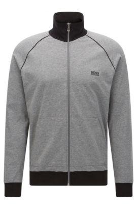 Stretch Cotton Zip Jersey Jacket | Jacket Zip, Grey