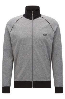 'Jacket Zip' | Stretch Cotton Zip Jersey Jacket, Grey