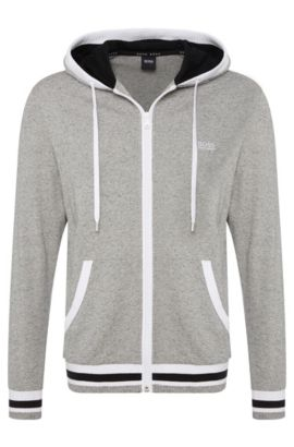 'Jacket Hooded' | Brushed Cotton Varsity Hooded Jacket , Grey