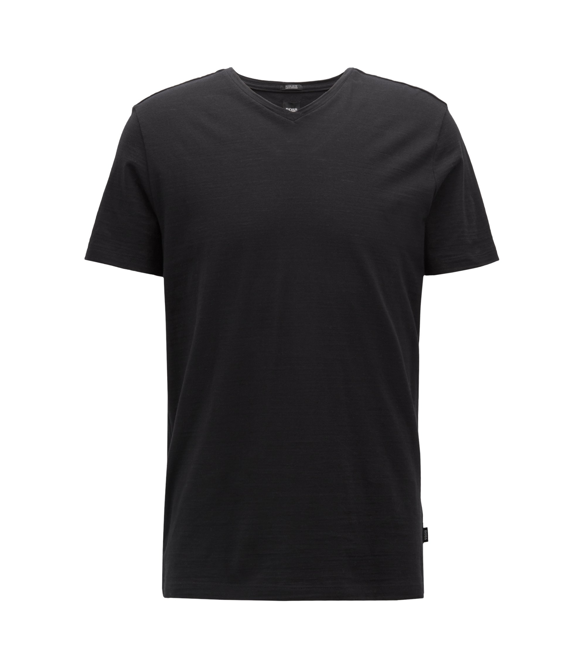 Regular-fit T-shirt in mercerized cotton, Black