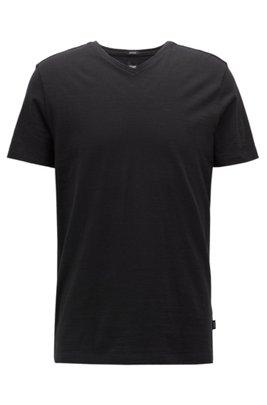 Regular-fit T-shirt in mercerized cotton, Black