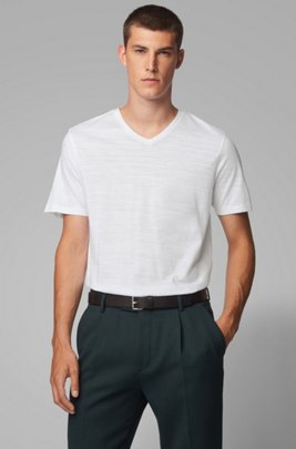 Regular-fit T-shirt in mercerized cotton, White