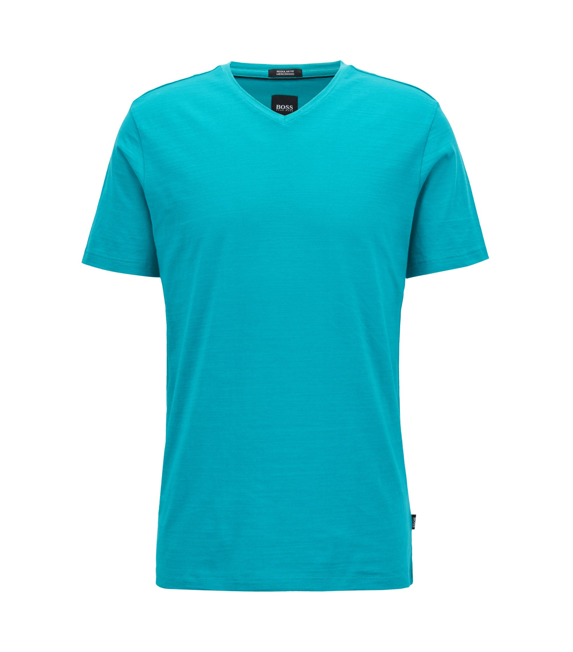 Regular-fit T-shirt in mercerized cotton, Green