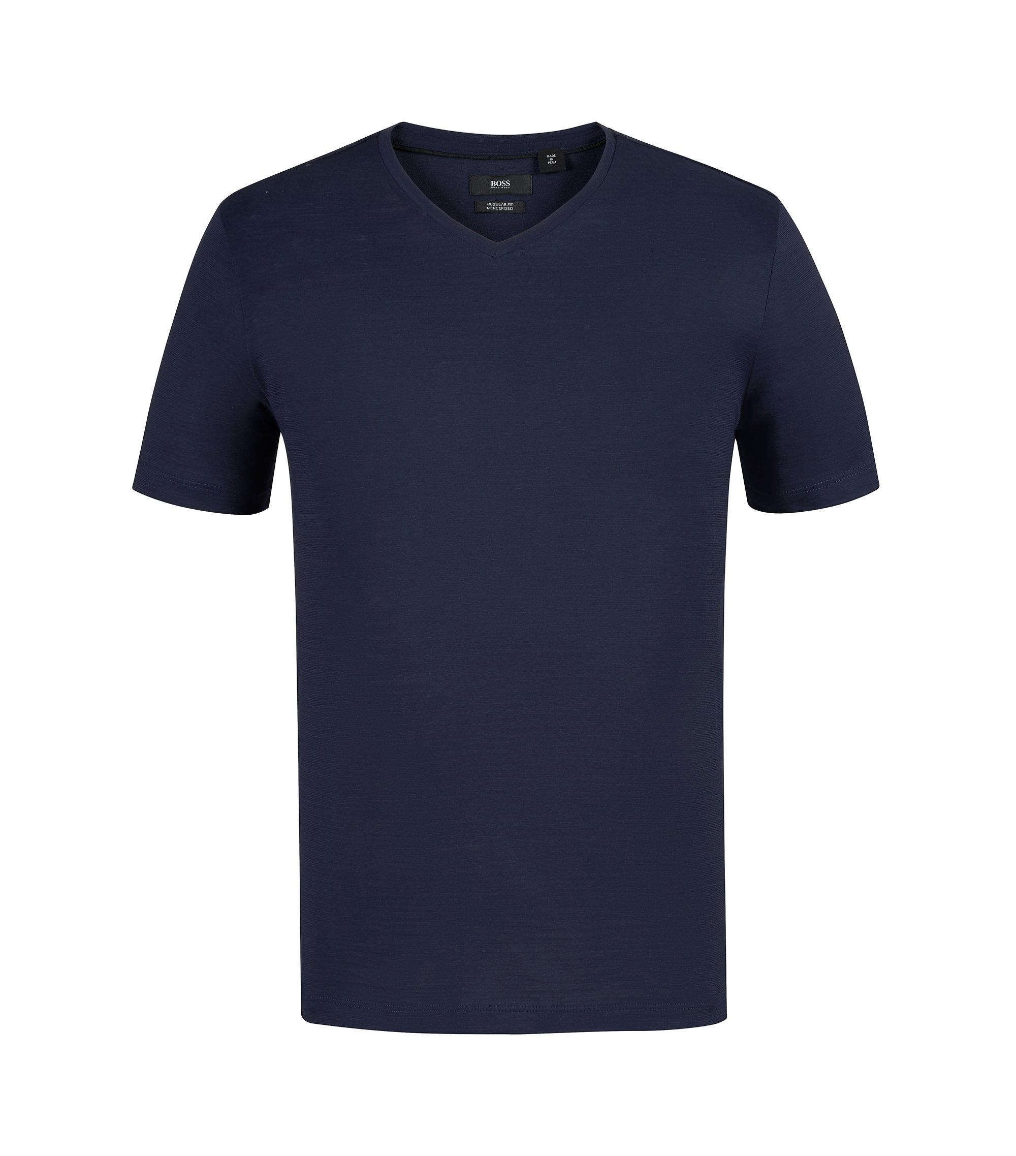 Regular-fit T-shirt in mercerized cotton, Dark Blue