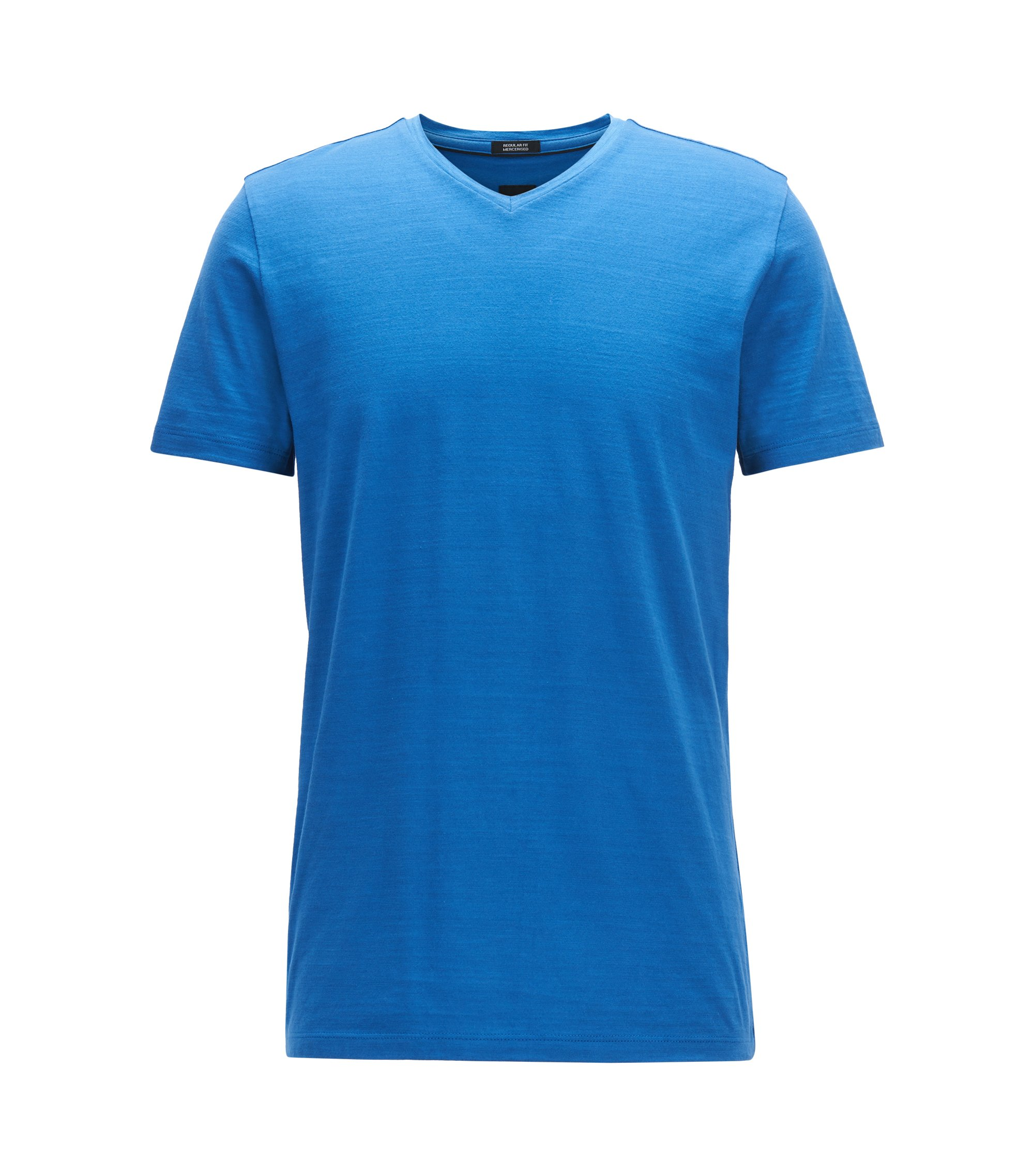 Regular-fit T-shirt in mercerized cotton, Blue