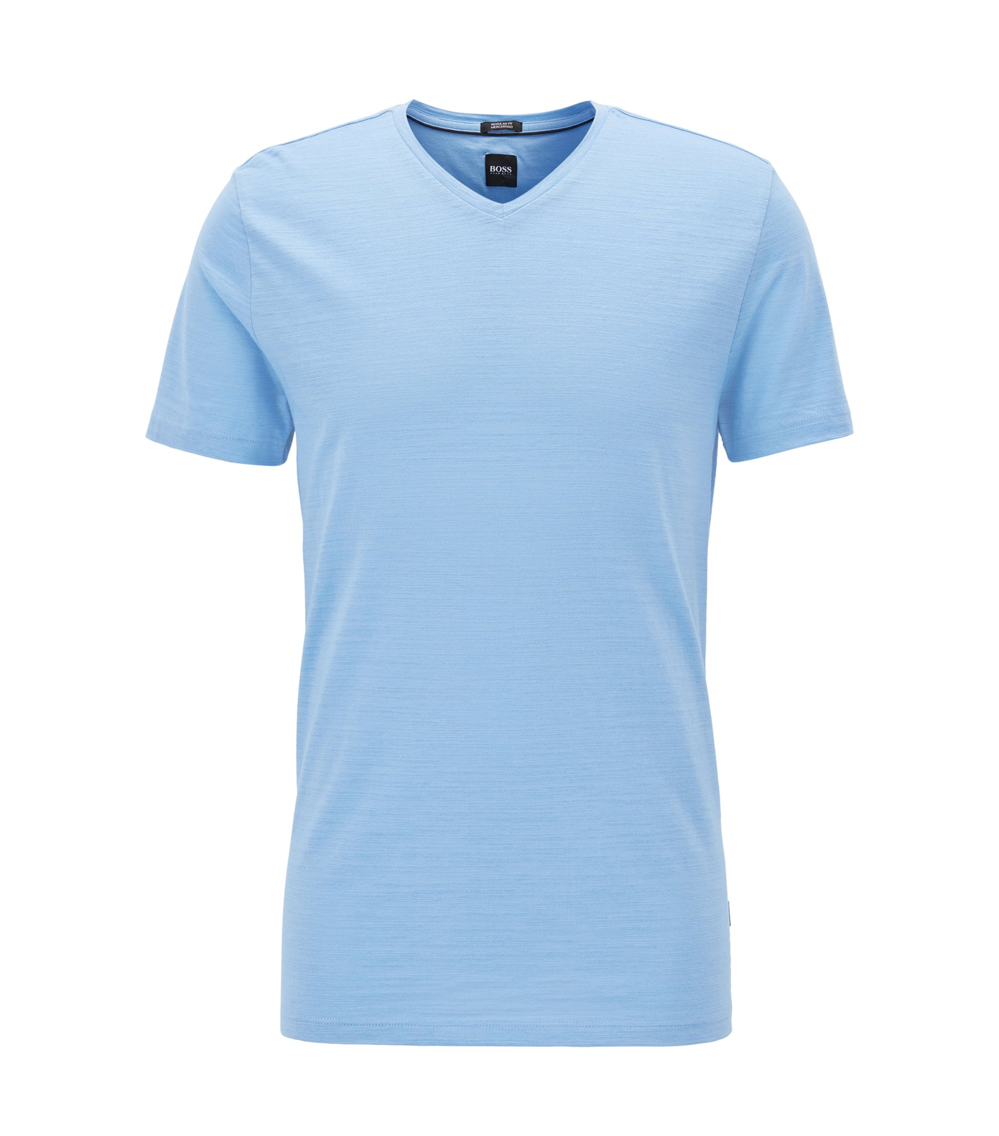 Regular-fit T-shirt in mercerized cotton, Light Blue