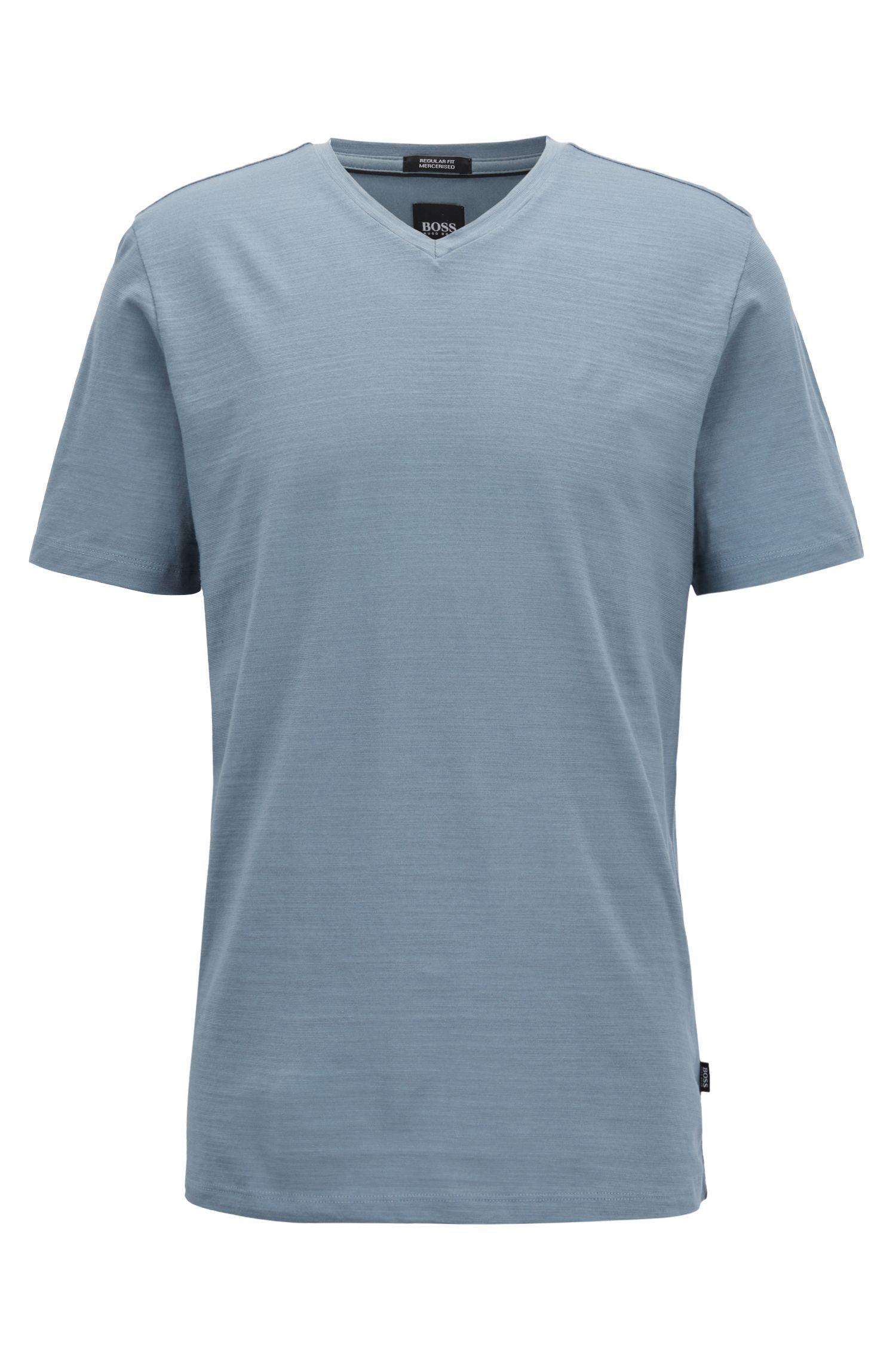 Regular-fit T-shirt in mercerized cotton, Open Blue