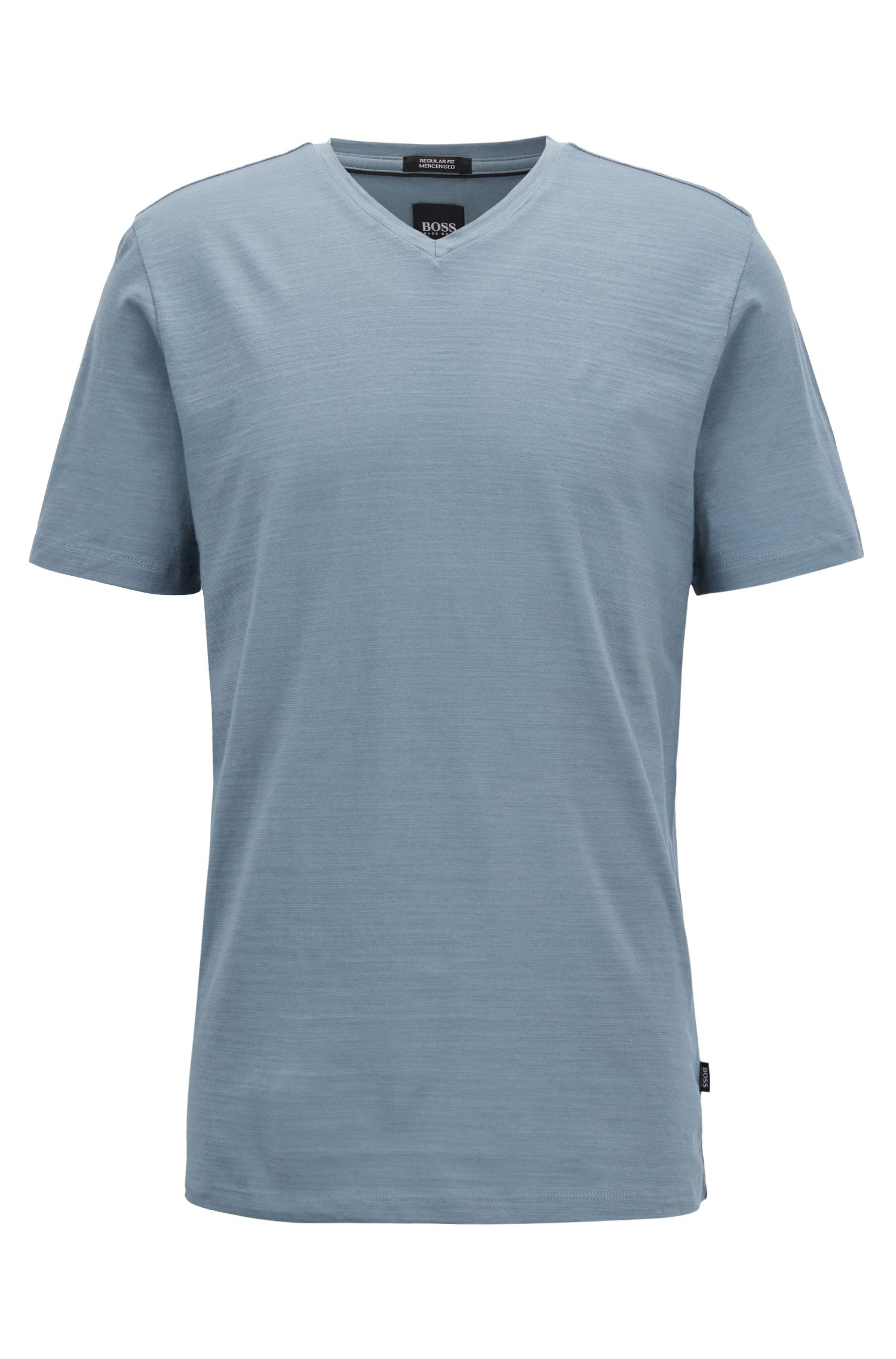 Regular-fit T-shirt in mercerized cotton, Open Blue