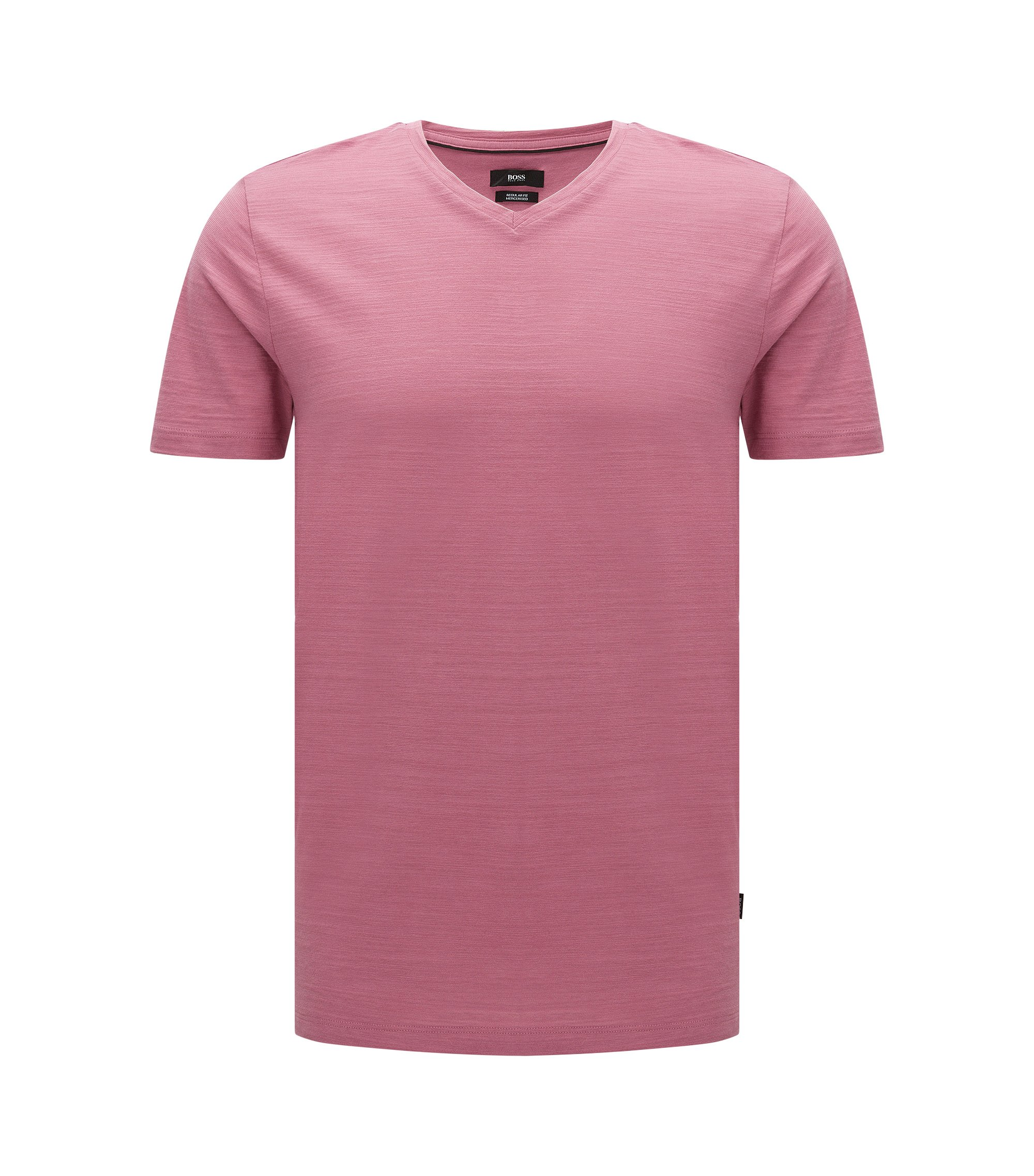 Regular-fit T-shirt in mercerized cotton, Pink