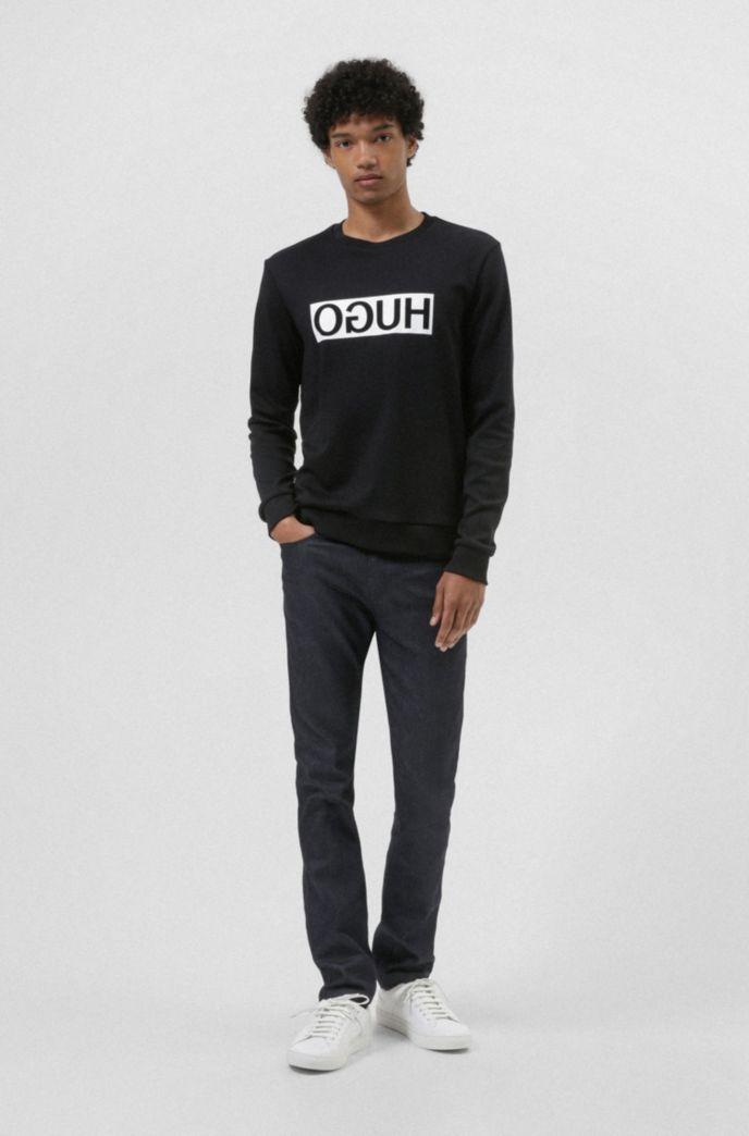 Regular-fit interlock cotton sweatshirt with reverse logo